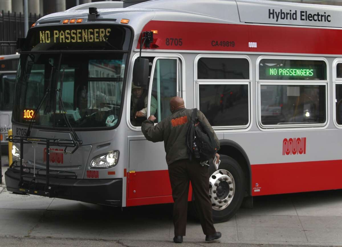 A file photo of a SF Muni bus. Police arrested a young man suspected of going on a driving rampage in downtown San Francisco, hitting two pedestrians and a Muni bus in a red Ford Mustang beforefleeing.