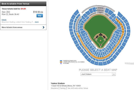 Joel Osteen Ministries' website on June 7, 2014, listed two seats available at $18.50 for his tour talk at Yankee Stadium. Yankee Stadium