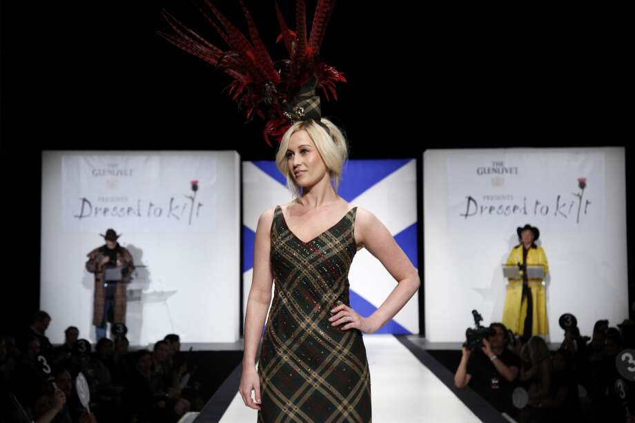 ** COMMERCIAL IMAGE ** In this photograph taken by AP Images for The Glenlivet, Kellie Pickler wears The Glenlivet tartan custom design by Cesar Galindo at Dressed To Kilt in New York, April 5, 2011. (Victoria Will/AP Images for The Glenlivet) Photo: Victoria WIll, AP IMAGES FOR THE GLENLIVET