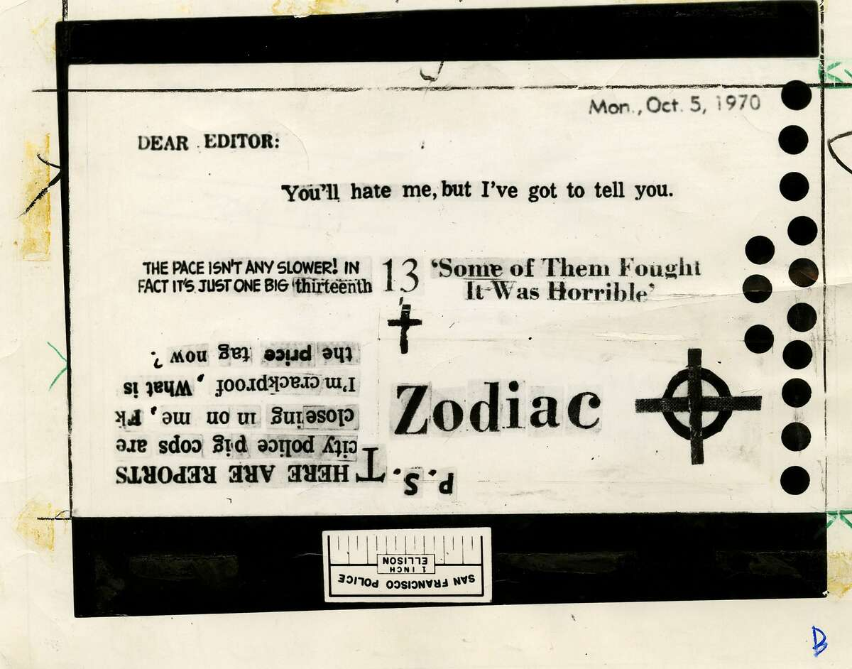 A Zodiac Killer card sent to the San Francisco Chronicle on Oct. 12, 1970.