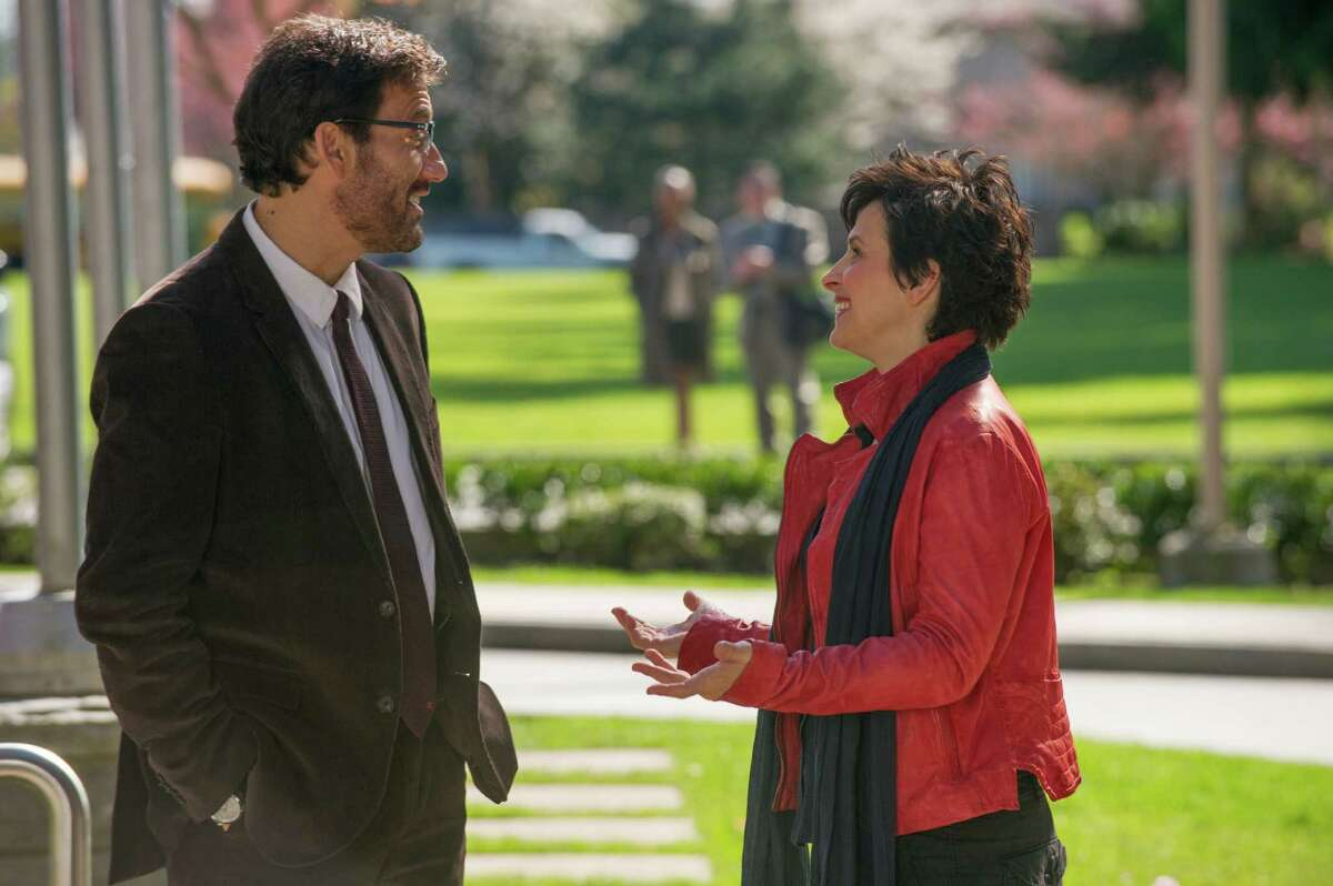 """This image released by Roadside Attractions shows Clive Owen, left, and Juliette Binoche in a scene from """"Words and Pictures."""" (AP Photo/Roadside Attractions, Doane Gregory)"""