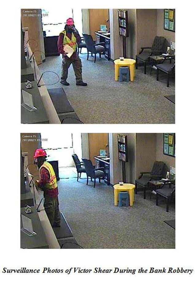 Picture from video footage of Victor Shear robbing a Slingerlands bank in August. (Bethlehem police photo) Photo: Walsh, Cecilia