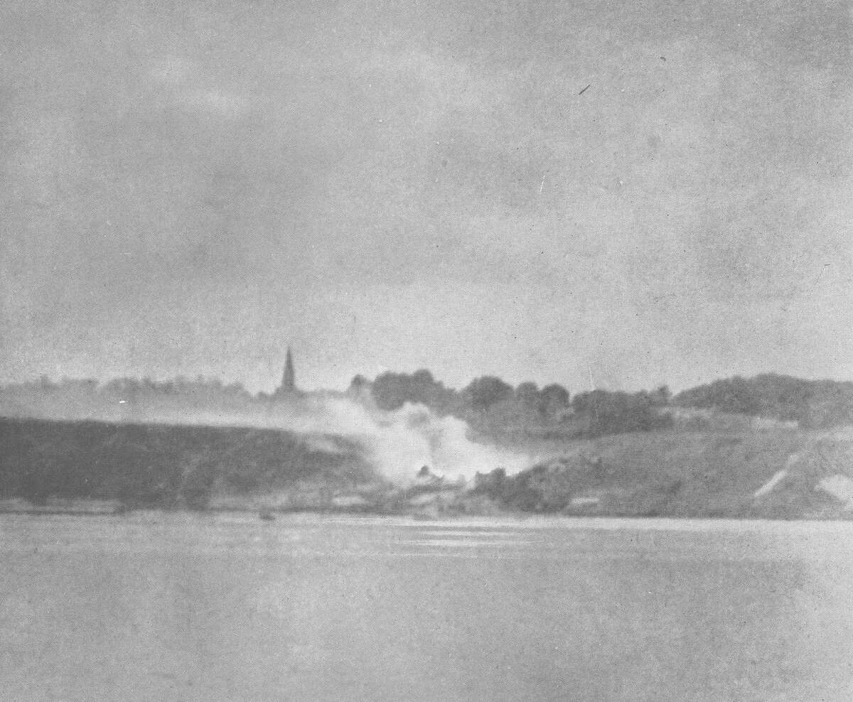 A picture shot from the Texas during the Omaha Beach bombardment.