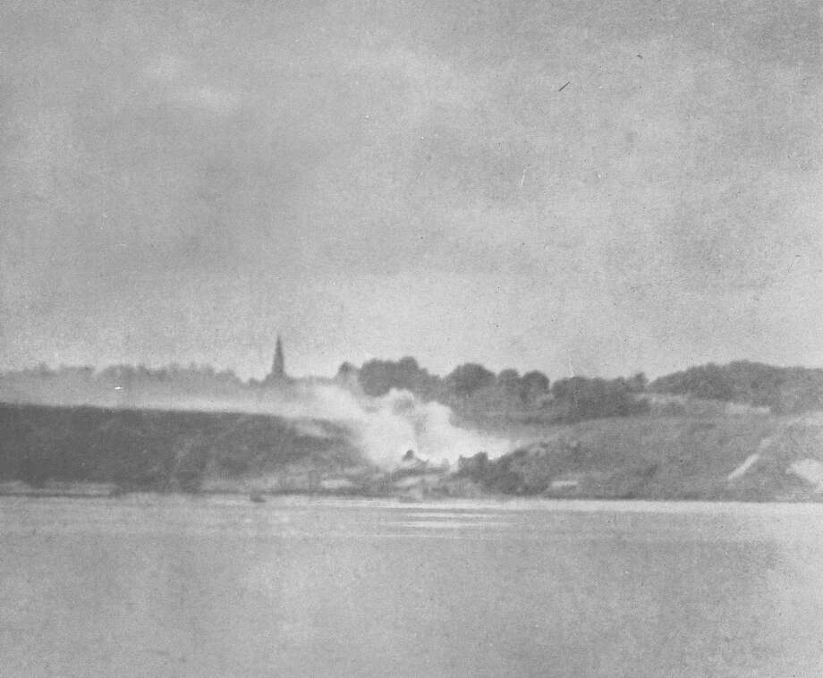 A picture shot from the Texas during the Omaha Beach bombardment. Photo: Battleship TEXAS State Historic Site