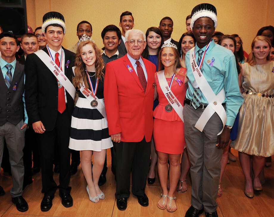 The newly-announced 2014 Barnum Festival Court pose with 2014 Ringmaster Paul Timpanelli at the 2014 Barnum Festival Coronation Ball at the Holiday Inn in Bridgeport, Conn. on Sunday, May 4, 2014. From left are King Benjamin Slowik, of Derby High School, Queen Monica Gorton, of Bunnell High School, Timpanelli, Princess Andrea Albarella, of Derby High School, and Prince Shaun Hershier, of Harding High School. Timpanelli, CEO of the Bridgeport Regional Business Council, sees the festival as an important economic driver for the city. Photo: Brian A. Pounds / Connecticut Post