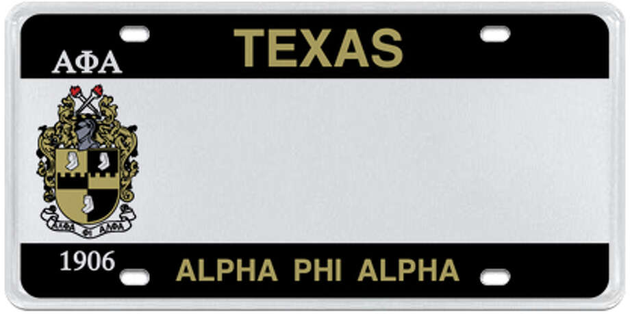 Various Texas collegiate fraternity/sorority license plates are available Photo: MyPlates.com & Texas Department Of Motor Vehicles