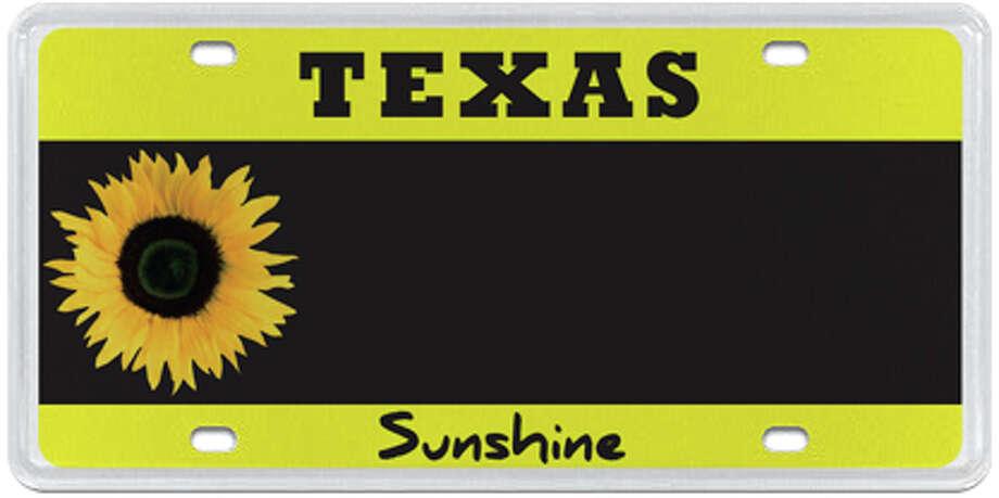Sunflower Photo: MyPlates.com & Texas Department Of Motor Vehicles