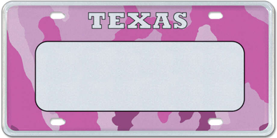 Pink Camo Photo: MyPlates.com & Texas Department Of Motor Vehicles