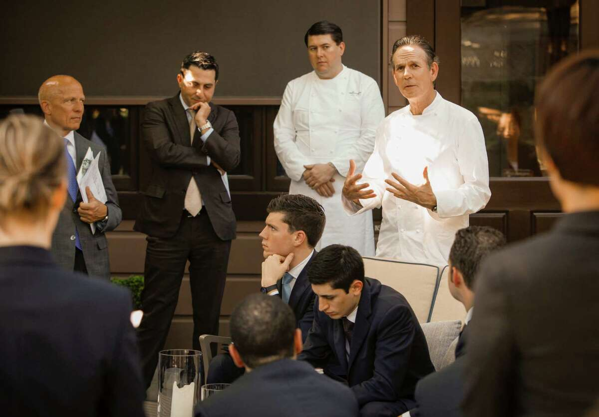 Chef Thomas Keller addresses his staff during the line up at The French Laundry on Wednesday, April 16, 2014 in Yountville, Calif. The staff gathers everyday prior to service to discuss topics such as the menu, the wine list, and the guest list.