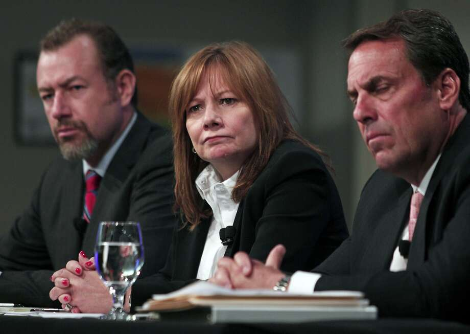 WARREN, MI - JUNE 5: General Motors Chief Executive Officer Mary Barra (center), Mark Reuss (left), Executive Vice President, and Dan Ammann (right), President, hold a press conference at the General Motors Technical Center on June 5, 2014 in Warren, Michigan. Barra spoke to provide an update on GM's internal investigation into the ignition switch recall at the General Motors Technical Center.  (Photo by Bill Pugliano/Getty Images) Photo: Bill Pugliano, Getty Images