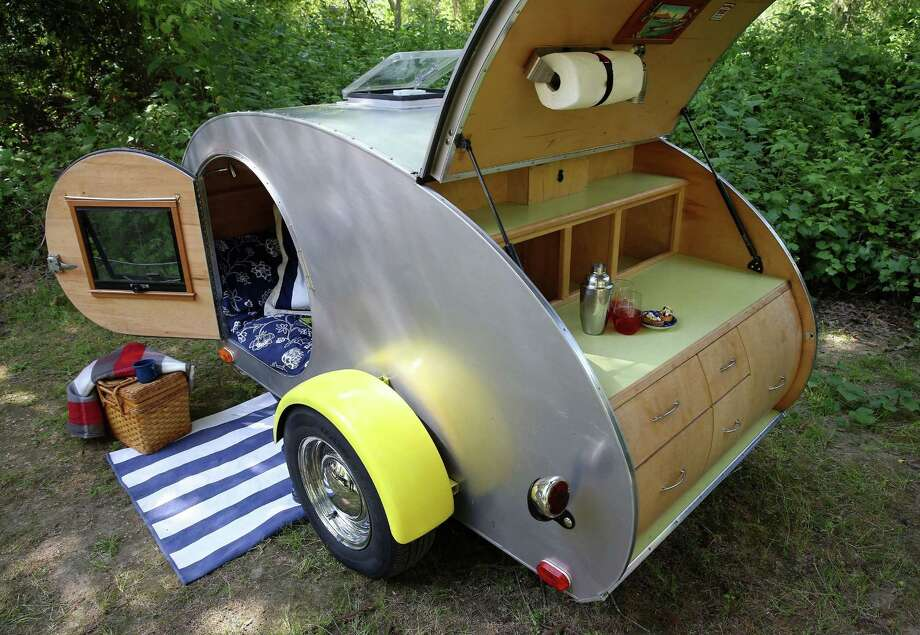 """The """"Can 'em Danno"""" teardrop trailer is parked in a campsite at the Casini Ranch Family Campground in Duncans Mills, Calif., April 18, 2014. (Jane Tyska/Bay Area News Group/MCT) ORG XMIT: 1153433 Photo: JANE TYSKA / Contra Costa Times"""