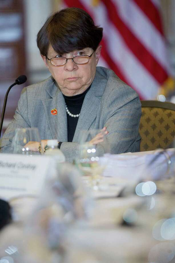 Mary Jo White, chairman of the U.S. Securities and Exchange Commission (SEC), listens during a Financial Stability Oversight Council (FSOC) meeting at the U.S. Treasury in Washington, D.C., U.S., on Wednesday, May 7, 2014. The FSOC today unanimously approved its 2014 annual report, which was developed collaboratively by the members of the Council and their agencies and staffs. Photographer: Andrew Harrer/Bloomberg *** Local Caption *** Mary Jo White Photo: Andrew Harrer / © 2014 Bloomberg Finance LP
