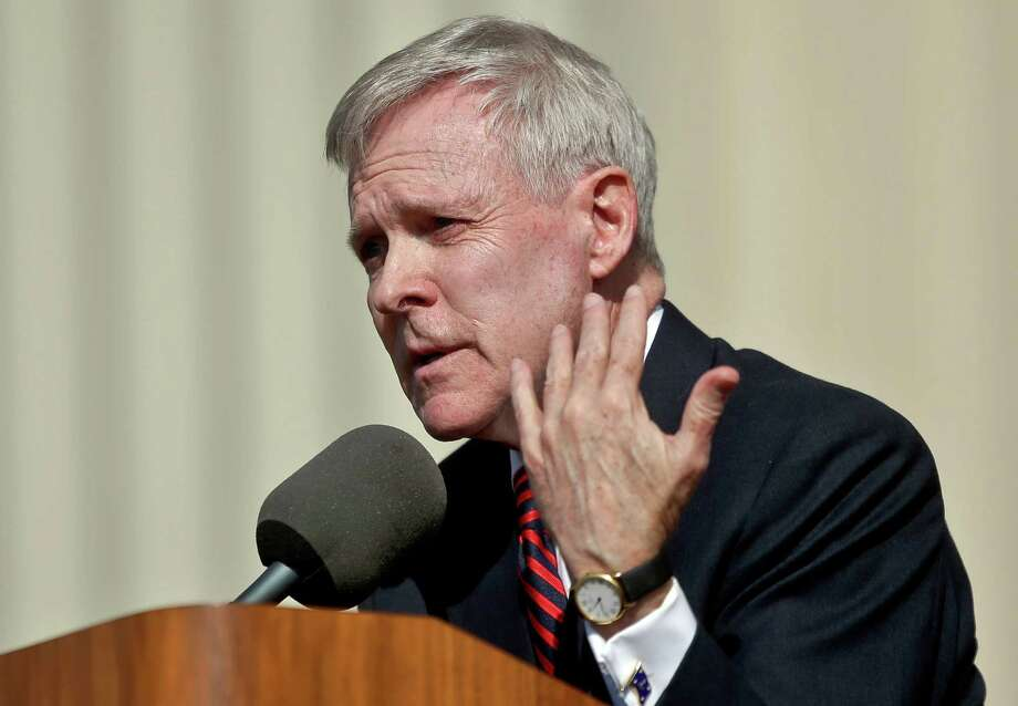 FILE - In this Jan. 9, 2014 file photo, Secretary of the Navy Ray Mabus speaks to workers at the General Dynamics NASSCO shipyard in National City, Calif. Mabus said Monday, June 2, 2014 during a visit to Rhode Island, that he is considering a plan to ban tobacco sales on U.S. Navy ships, and at retail stores on Navy and Marine Corps bases. The Navy Department, which includes the Marine Corps, would be the first military branch to prohibit tobacco sales.   (AP Photo/Lenny Ignelzi, FIle) Photo: Lenny Ignelzi, STF / AP
