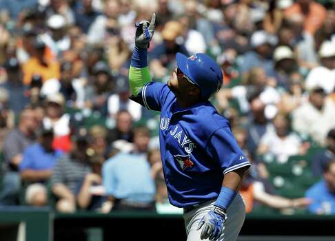 Toronto Blue Jays' Juan Francisco celebrates hitting a two-run home run against Detroit Tigers pitcher Justin Verlander in the sixth inning of a baseball game in Detroit, Thursday, June 5, 2014. (AP Photo/Paul Sancya) Photo: Paul Sancya, Associated Press / AP