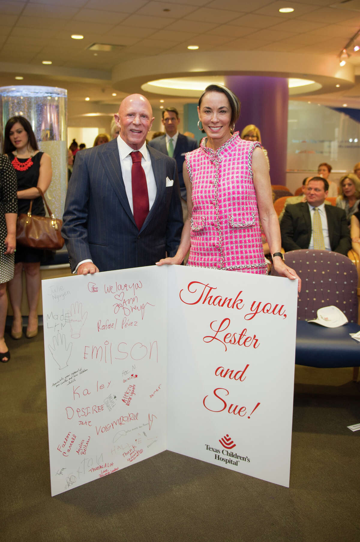 Lester and Sue Smith were recently honored for their donations to Texas Children's Hospital.