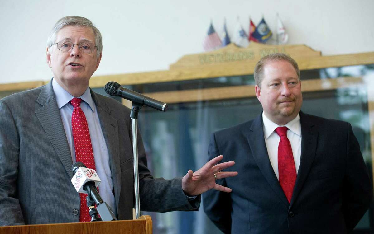 Stamford Mayor David Martin announces the appointment of Thomas Madden as permanent Economic Development Director for the city in a press conference at Government Center on Thursday, June 5, 2014.