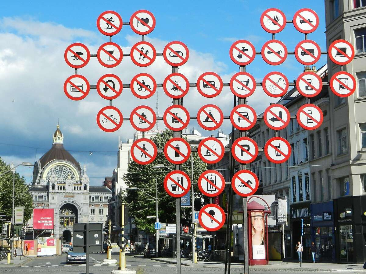 Most roads signs in Europe are easier to figure out than this confusing assortment in Antwerp.