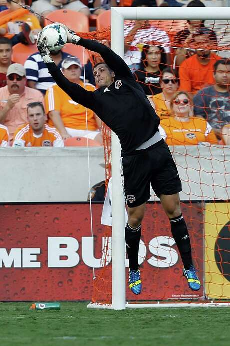 Reflecting on the Dynamo's three-game losing streak, in which they were scoreless, keeper Tally Hall says the club isn't playing to franchise standards. Photo: Bob Levey, Photographer / Â2013 Bob Levey