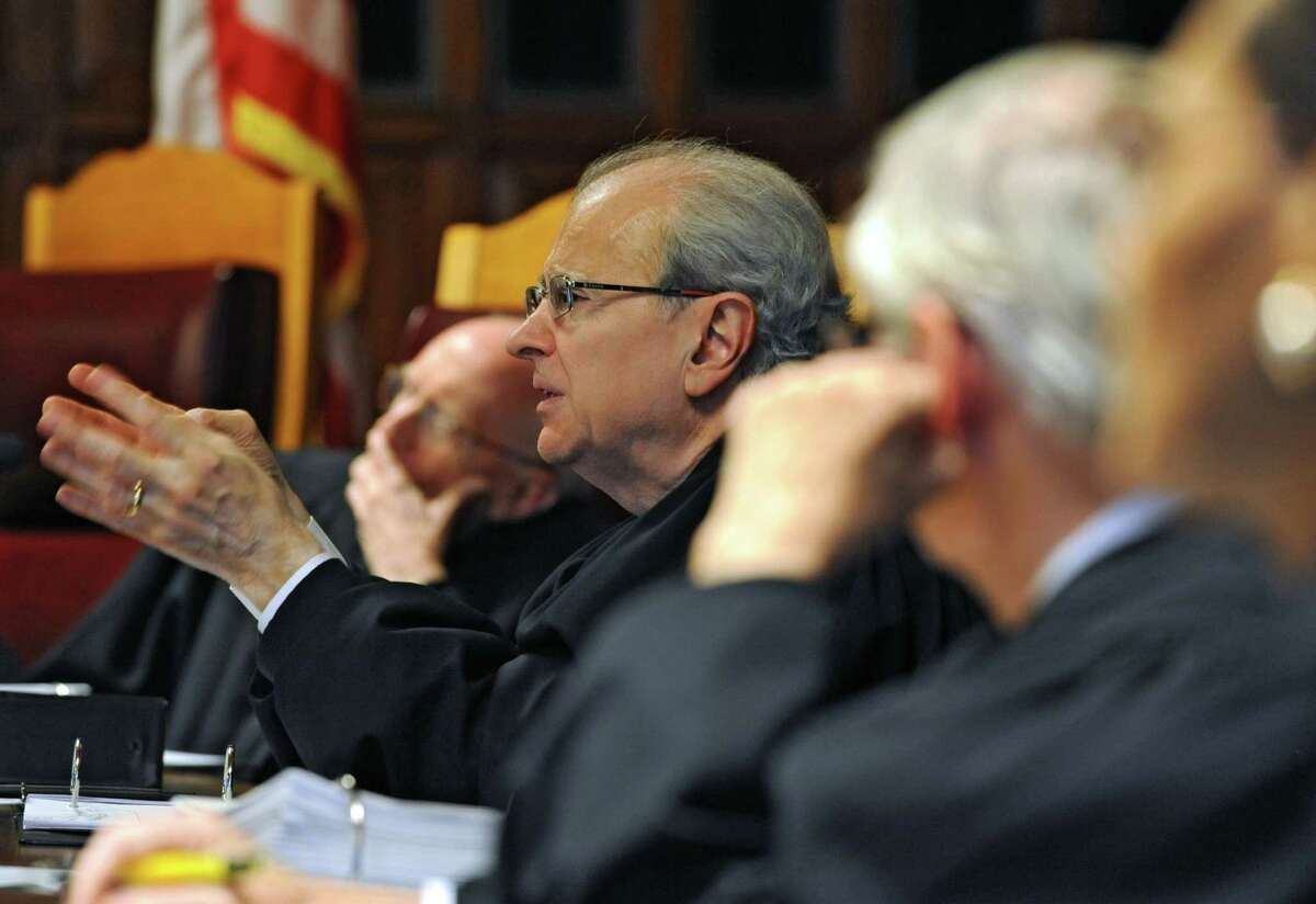 Chief Judge Jonathan Lippman reacts to Albany defense attorney William J. Dreyer as he tries to convince the judges at the NYS Court of Appeals to keep Albany County Surrogate's Court Judge Cathryn M. Doyle on the bench Thursday, June 5, 2014 in Albany, N.Y. Doyle took action in cases between 2007 and 2010 without disclosing personal conflicts. (Lori Van Buren / Times Union)