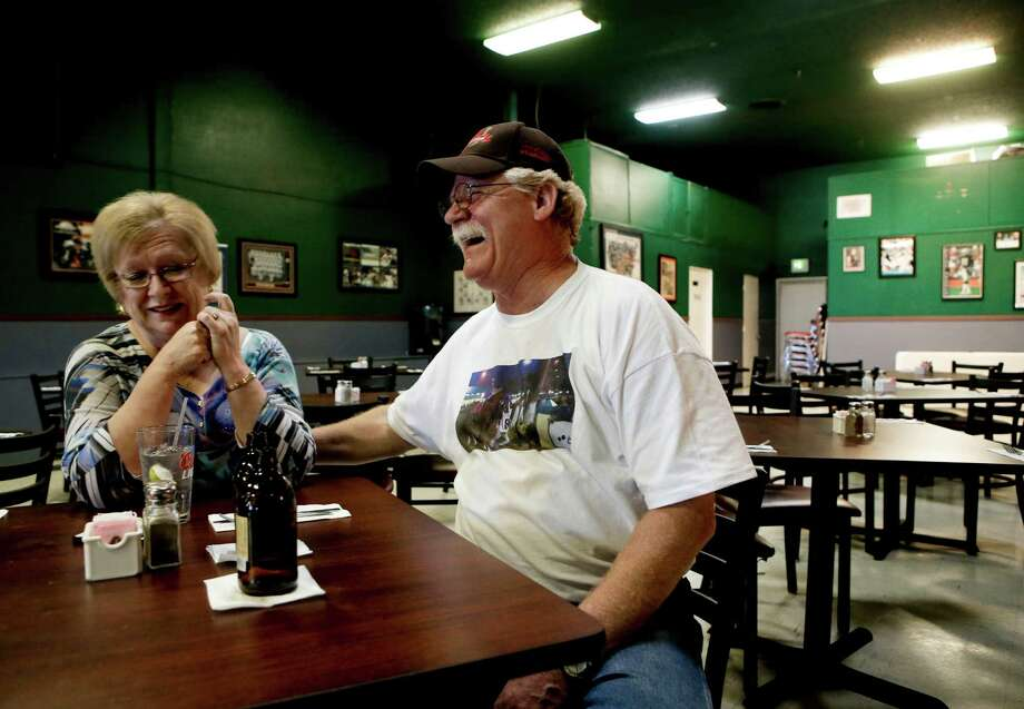 """Steve and Carolyn Coburn, on Tuesday May 27, 2014, share a laugh during a visit to their favorite restaurant, Hamdogs, in Gardnerville, Nevada. Steve and Carolyn Coburn, are the co-owners of the horse """"California Chrome"""", who has a shot to win the holy grail of horse racing, the Triple Crown. ORG XMIT: 516589 Photo: Michael Macor / ONLINE_YES"""