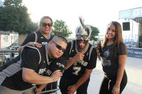 Spurs fans gather in the Bud Light Courtyard of the AT&T Center for Game 1 of the NBA Finals Thursday night.