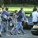 Students are evacuated after a shooting at Seattle Pacific University on Thursday, June 5, 2014.