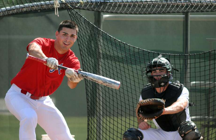 Atascocita's Anthony Pagano works during batting practice at AHS. Photo: Jerry Baker, Freelance