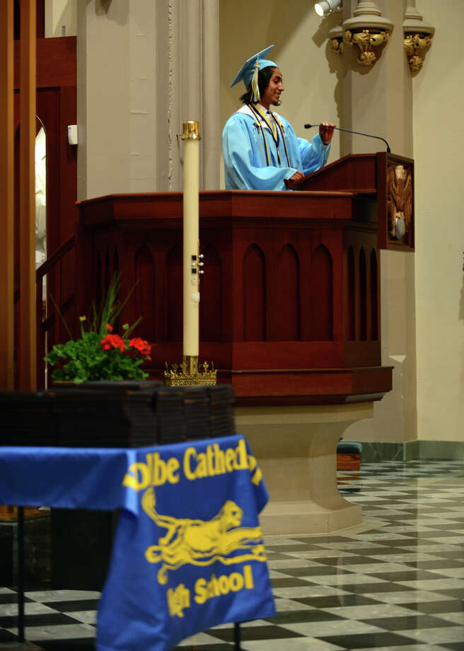 Graduate Eric Cruz gives the Valedictory Address, during Kolbe Cathedral's Class of 2014 Commencement Exercises at St. Augustine Cathedral in Bridgeport, Conn. on Thursday June 5, 2014. Photo: Christian Abraham / Connecticut Post