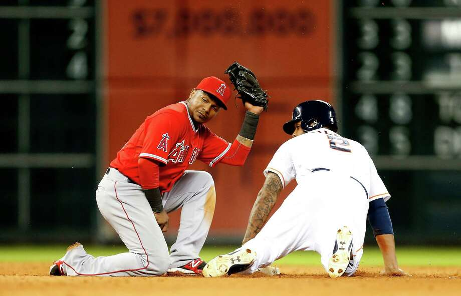 In a brief appearance Thursday, Astros shortstop Jonathan Villar entered the game in the eighth as a pinch runner and was caught trying to steal second. Photo: Karen Warren, Staff / © 2014 Houston Chronicle
