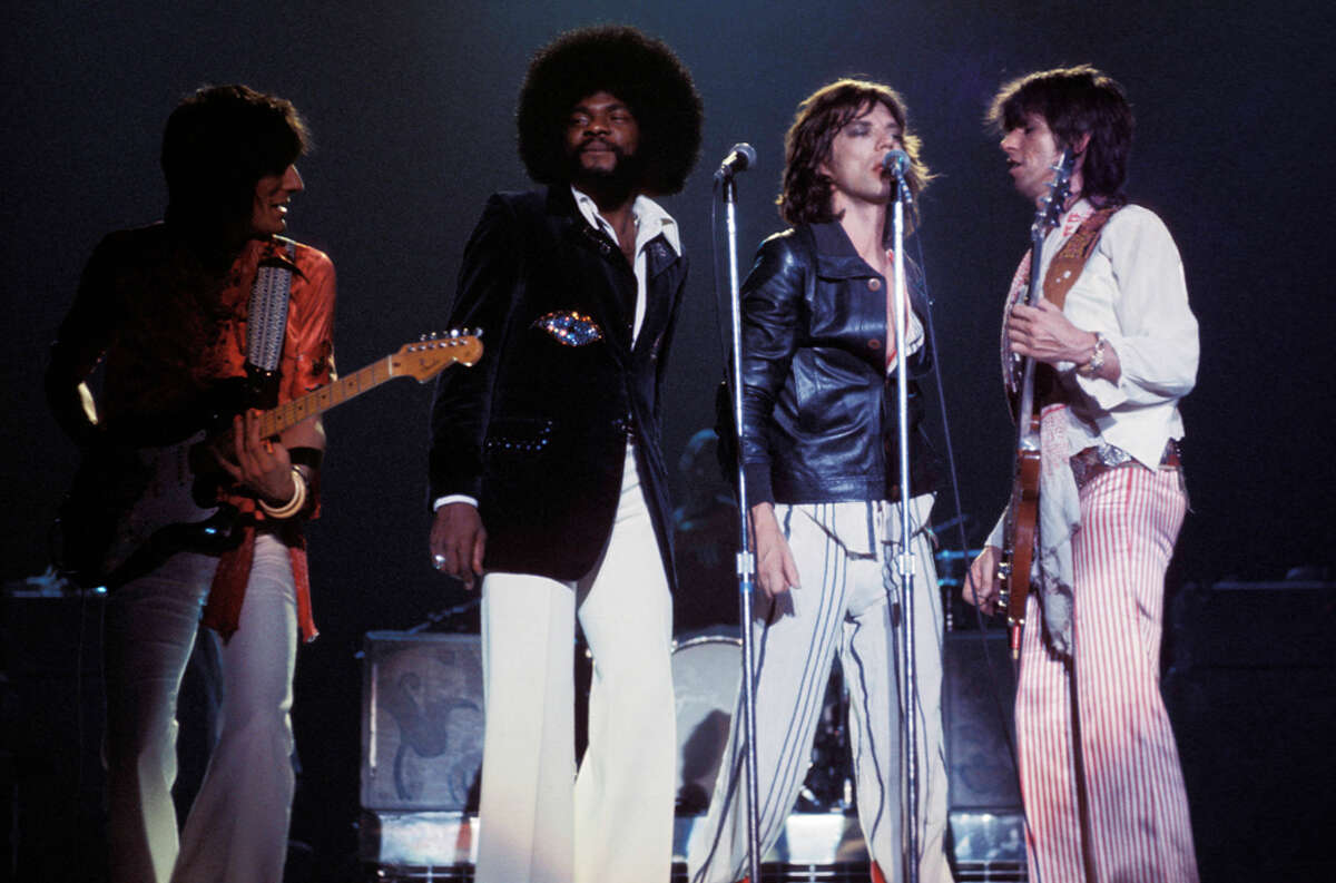 Ronnie Wood (from left), Billy Preston, Mick Jagger and Keith Richards of The Rolling Stones perform at HemisFair Arena in San Antonio in June 1975.