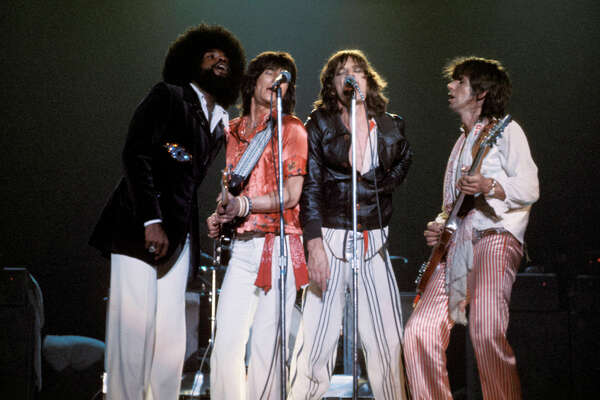 UNITED STATES - JUNE 03: Photo of Billy PRESTON and ROLLING STONES; L-R: Billy Preston, Ron Wood (Ronnie Wood), Mick Jagger, Keith Richards, performing live onstage at the Convention Center in San Antonio, (Photo by Fin Costello/Redferns)