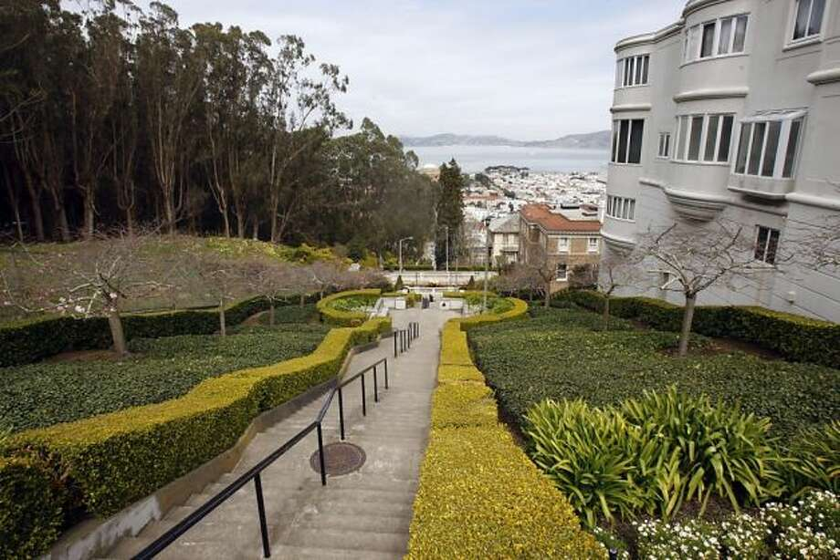 Walk down–or up–the Lyon Street Steps in Pacific Heights. Photo: Siana Hristova, The Chronicle
