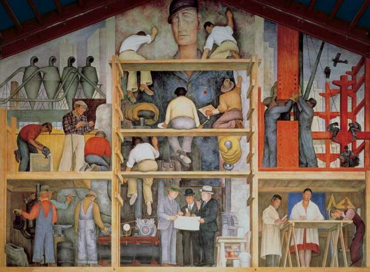 Diego Rivera Mural In San Francisco Of View The Diego Rivera Mural Making A Fresco At The San