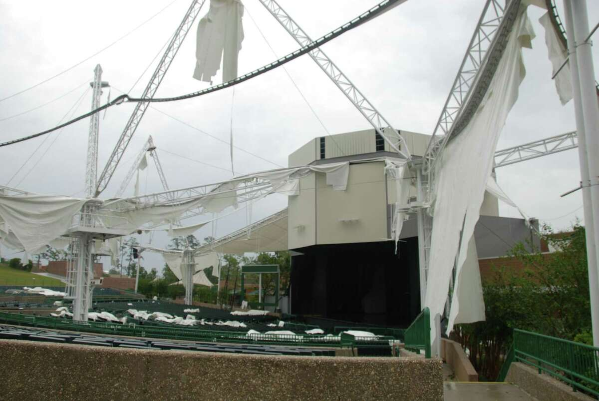 Photos of Cynthia Woods Mitchell Pavilion before and after Hurricane Ike. After photos by John Everett