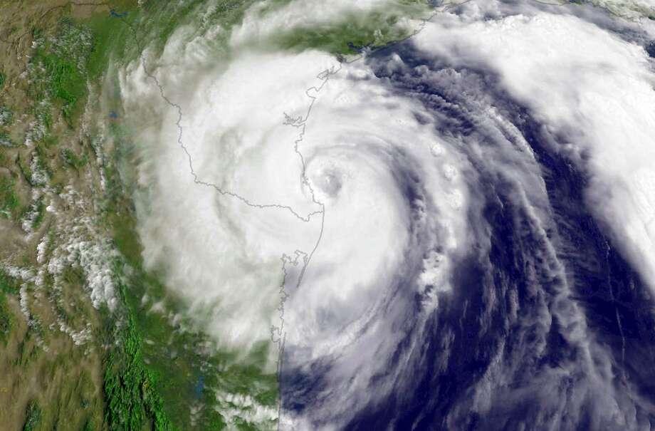 "Landfall Point:Corpus Christi (see on Google Maps)Estimated Insurance Industry Losses: $35-40 billion(Source: The 100 Year Hurricane,"" Karen Clark & Company risk assessment) Photo: Handout, Houston Chronicle / 2008 NOAA"