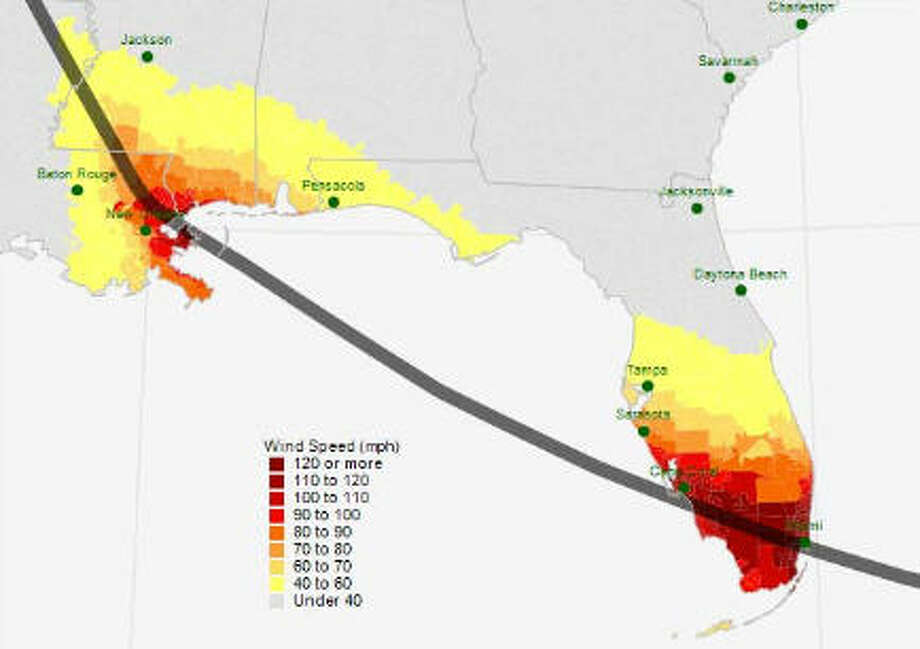 "The worst case scenario for a 100-year hurricane for much of the Gulf would be a Category 5 storm that pushed through the Florida panhandle on its way to a second landfall near New Orleans. (Source: ""The 100 Year Hurricane,"" Karen Clark & Company risk assessment) Photo: Houston Chronicle"