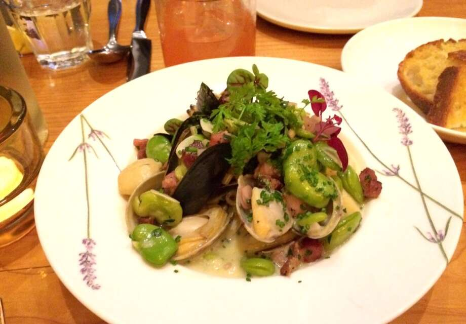 The Coachman: Clams and mussels in a whey broth with fava beans, green garlic and pickled ramps ($18)