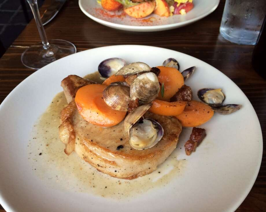 Molina in Mill Valley: Pork chop with manila clams, apricots, pancetta and chiles ($27)