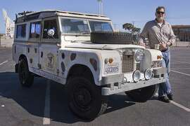"""Photos of Timothy """"Timber"""" Manhart and his 1967 Land Rover 109 Series IIA Station Wagen at Richmond Harbor and Craneway in Richmond, CA on April 5, 2014"""