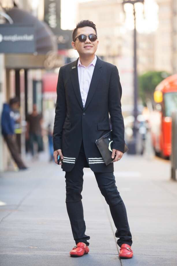 Nguyen pairs a Dsquared shirt with a jacket from Comme des Garcons that he had tailored. Photo: Anna-Alexia Basile