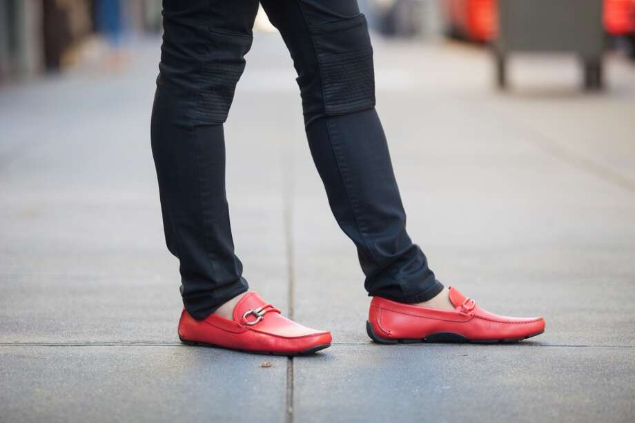 He wore these bright Salvatore Ferragamo shoes to add some fun to his polished professional look. Photo: Anna-Alexia Basile