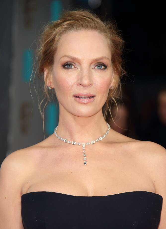 Uma Thurman lets her gorgeous necklace and bright blue eyes do the talking on February 16, 2014 in London, England. Photo: Mike Marsland, WireImage