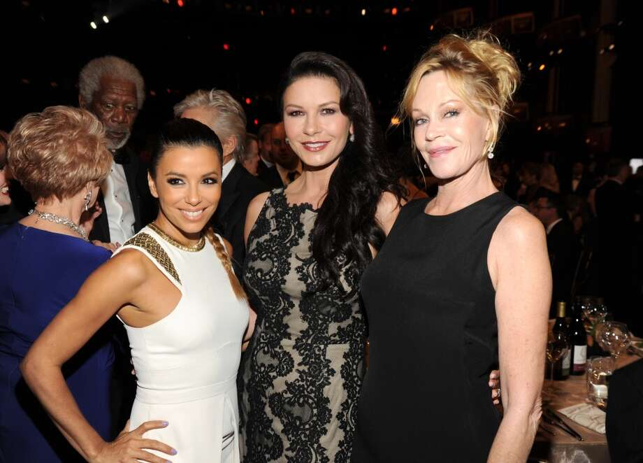 Actors Eva Longoria, Catherine Zeta-Jones and Melanie Griffith attend the 2014 AFI Life Achievement Award: A Tribute to Jane Fonda at the Dolby Theatre on June 5, 2014 in Hollywood, California. Photo: Kevin Mazur, WireImage