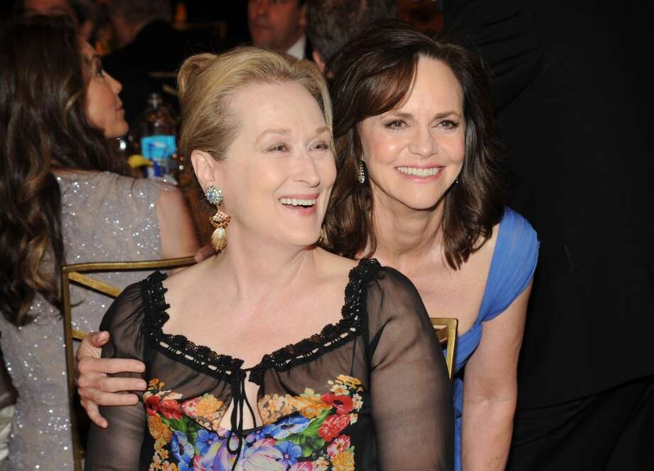 Actors Meryl Streep (L) and Sally Field attend the 2014 AFI Life Achievement Award: A Tribute to Jane Fonda at the Dolby Theatre on June 5, 2014 in Hollywood, California. Photo: Kevin Mazur, WireImage