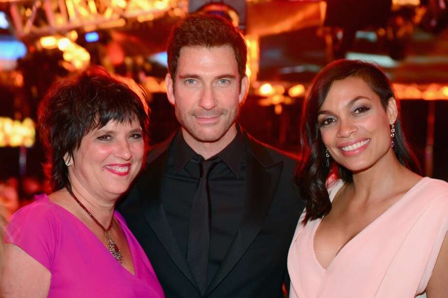 (L-R) Writer Eve Ensler, actors Dylan McDermott and Rosario Dawson attend the 2014 AFI Life Achievement Award: A Tribute to Jane Fonda After Party at the Dolby Theatre on June 5, 2014 in Hollywood, California Photo: Frazer Harrison, Getty Images For AFI