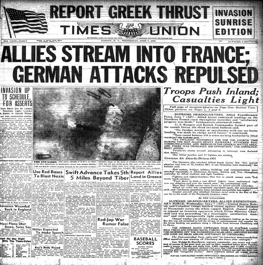 The front page of the Times Union on June 7, 1944, announcing the D-Day invasion of Normandy during World War II.