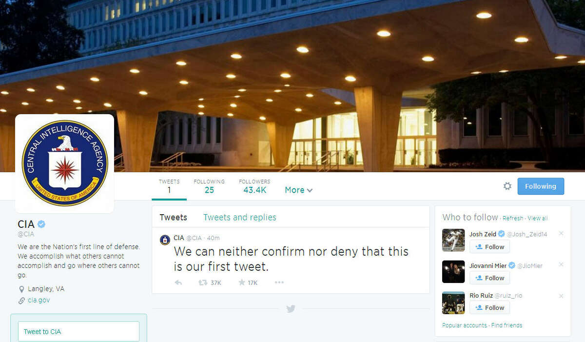 This may or may not be a screenshot of the CIA's first tweet. (Twitter)