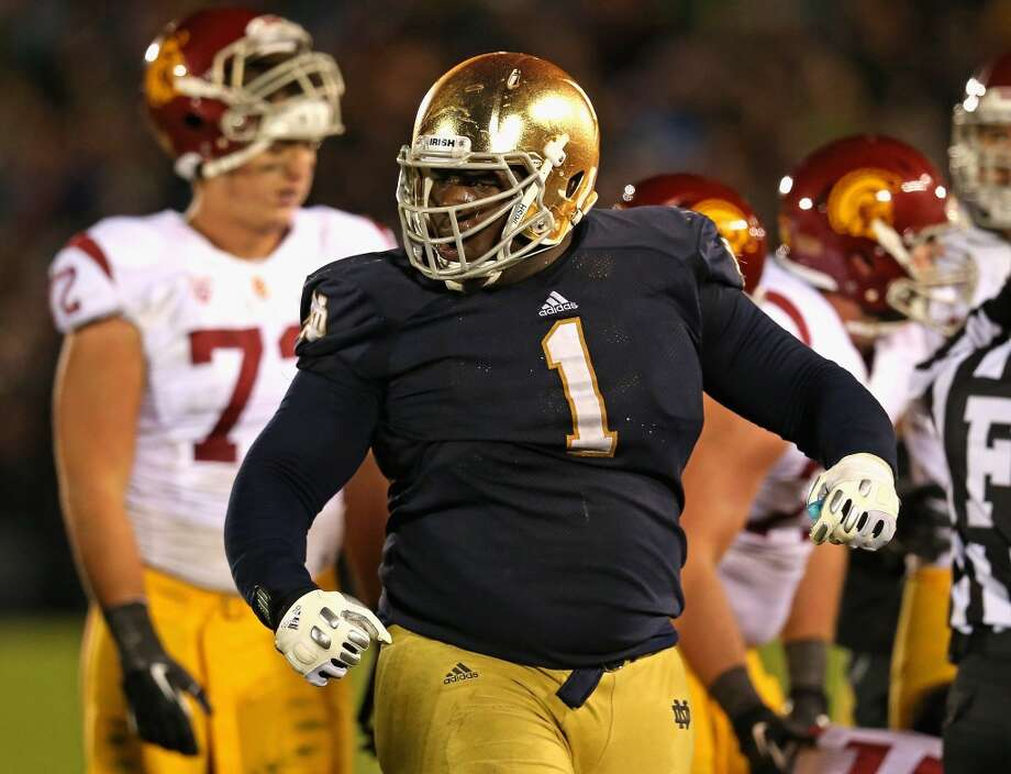3rd round (83rd overall): Louis Nix, DT, Notre Dame, 6-2, 331.  College career – He started 11 games each season as a sophomore and junior, making a combined 95 tackles, but played in only seven as a senior, with 27 tackles, after suffering a torn meniscus that required surgery. Photo: Jonathan Daniel, Getty Images