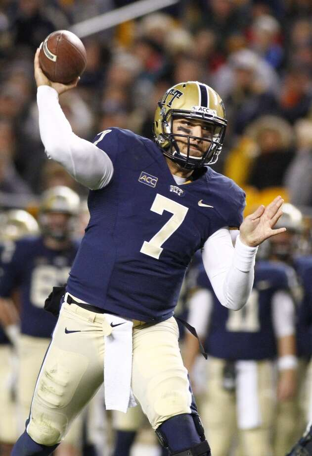 4th round (135th overall): Tom Savage, QB, Pitt, 6-4, 228.  Weaknesses – In part because of his hard-nosed approach, he tends to be injury prone, getting sidelined twice last season with a concussion and a rib injury. Although he hangs in well against pressure, he struggles eluding the rush and his decision-making needs improvement. He forces ball where they shouldn't go, and he struggles reading defenses. Photo: Justin K. Aller, Getty Images