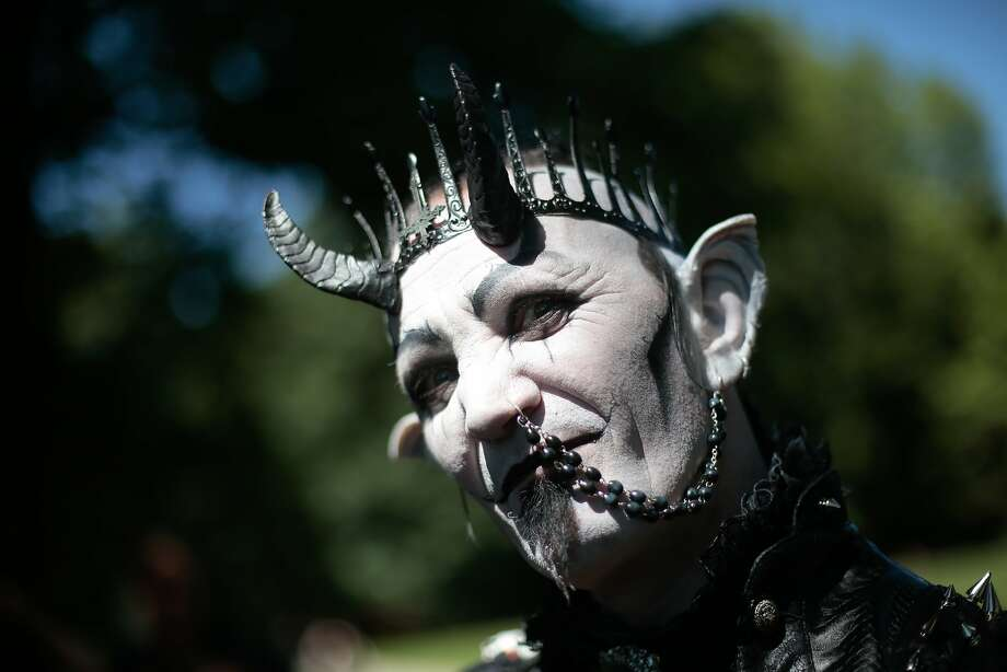 It's not a look for everyone: If you're going to wear an ear-to-nostril chain, it helps to have horns growing out of your head. (Wave Gothic Festival in Leipzig, Germany.)  Photo: Markus Schreiber, Associated Press